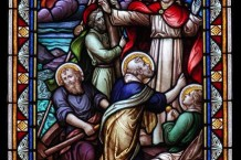 Ecclesiastical stained glass window of Christ in the Sea of Galilee